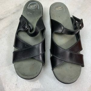 Dansko Black Leather Sandals